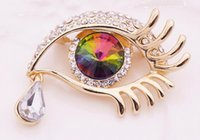 Wholesale Eye Pin Silver Plated - FREE SHIPPING MIX ORDER US$10 crystal angel tears with big eyes brooches for women rhinestone pins and brooches Korean style fashion 22color