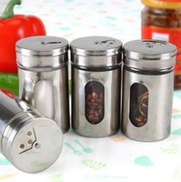 Wholesale Glass Spice Shakers Wholesale - Hot Style 4 Different Needs Rotating Holes Spice Jars Condiment Pot Salt Pepper Kitchen Storage Stainless Steel Glass Container