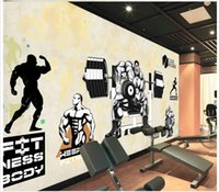 Wholesale 3d Puzzles Chinese House - 3D wall murals wallpaper custom picture mural wall Gym Muscle Men Beauty Dumbbell Puzzle wallpaper 3D Mural wallpaper Free shipping