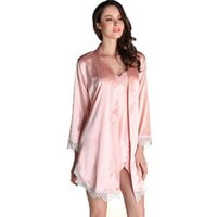 Wholesale Sexy Pijamas - Wholesale- new 2016 summer style two pieces robe set luxury lace satin silk nightgown + bathrobe pijamas mujer sexy ladies nightgowns hot