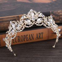 Wholesale Gold Tiaras Hair Accessories - Light Gold Crystal Bridal Tiara Swarovski Rhinestone Wedding Crown Luxury Wedding Tiara Bridal Headpieces Hair Accessories
