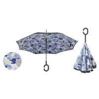 Wholesale Creative Inverted Umbrellas Double Layer With C Handle Inside Out Reverse Windproof Umbrella