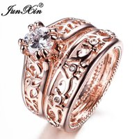 JUNXIN New Sale Uomo Donna Anello Set Rose Gold Filled Wedding Anelli di fidanzamento Set da sposa Gioielli di moda