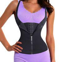 Wholesale Waist Cincher Corset Vest - 2017 New Adjustable Shoulder Strap Waist Trainer Vest Corset Women Zipper Hook Body Shaper Waist Cincher Tummy Control Slimming Underwear