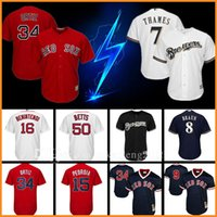 Wholesale Red Sox David Ortiz Milwaukee Brewers Eric Thames Baseball Jersey Ryan Braun Andrew Benintendi Ted Williams Pedroia Betts Yount Jerseys
