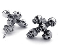 Mens Stainless Steel Gothic Skull Cross Stud Earrings Preto Prata