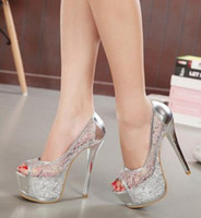 Wholesale Open Toe Transparent Shoes - Platform Gold 2017 Rhinestone Wedding Ladies Shoes With Heels Extreme High Glass Slipper Lace Bridal Cutout Transparent Heel Sexy