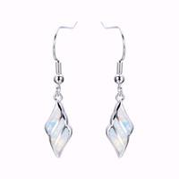 Wholesale Sterling Silver Fire Opal Jewelry - Female Drop Earring White Fire Opal Earrings 925 Sterling Silver Filled Dangle Earrings For Women Fashion Jewelry