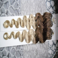 Wholesale Brazilian Body Wave Micro - Ombre hair extension micro ring body wave 200g 1g s 200s T4 613 micro ring hair extensions micro loop hair extensions