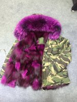 Wholesale 2018 purple fur Mr Mrs itlay fox fur lining Camouflage mini jackets Mr Mrs furs canvas coats