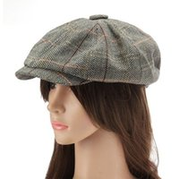 2017 Limited New Arrival Adulto One Size Striped Newsboy Cap Hats Mulheres Octagonal Fashion Personality Elegant Caps