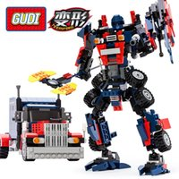 Wholesale Building Blocks Truck - 2017 New 2-in-1 Transformation Series Prime Building Blocks Set Robot Car Truck Model Deformation Toys Gudi 8713