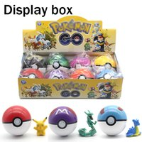 Wholesale Box 7cm High - Poke go Plastic 7cm pokeballs+Action Figures Display box Pikachu Greate Ball Ultra ball Master ball High imitation 8Style Kids Toy wholesale