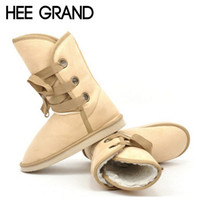 меховые снегоступы для мужчин оптовых-Wholesale-HEE GRAND 2016 Winter Snow Boot Women Shoes Man-made Fur Buckle Motorcycle Ankle Boots Warm Shoes Woman Flats Size 36-40 E199