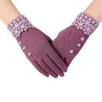 Wholesale Men Hand Gloves - Wholesale- Ladies Floral Pearl Cotton Gloves Wrist Screen Womens Full Hand Warmer Driving Outdoor Goth Handschoenen #ED