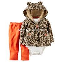 Wholesale Infant Leopard Coat - Wholesale- 2017 Baby boy grls Suits Leopard Baby NewBorn Clothing Sets 3pcs lot Coat+Rompers+Pants Children Infant Baby's Sets