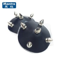 Wholesale Man Nipple Clamping - 1Pair PU Leather Nail Nipple Clamps Female Breast Clips Stickers Fetish Adult Games Cosplay Apparel Sex Toys For Women Men