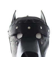 Wholesale Leather Gimp Hoods - Masquerade Mask Leather Gimp Dog Puppy Hood Full Mask Mouth Gag Costume Party Mask Zipped Muzzel Halloween Masks