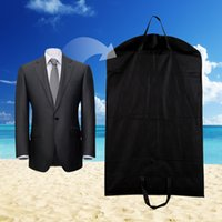 Wholesale Clothes Hanger Covers - Wholesale- 1pc Black Dustproof Hanger Coat Clothes Garment Suit Cover Storage Bags,clothes storage,almacenamiento,Case for clothes