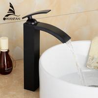 robinets hauts achat en gros de-Nouveaux robinets de salle de bains en bronze frotté à l'huile Robinet de lavabo haut Robinet de lavabo noir Mitigeurs Carré Mitigeur de pont monté sur l'eau LH-16989