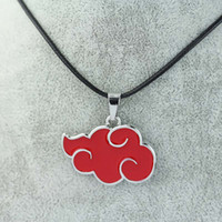 Wholesale Cloud Cosplay - Wholesale-Japan Anime Cosplay Naruto Akatsuki organization red cloud sign metal pendant necklace Can Drop shipping
