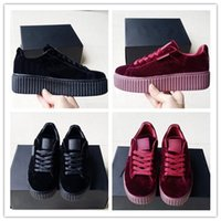 Wholesale Suede Shoes Casual Woman - Original 2017 Velvet Rihanna x Suede Creepers Rihanna Creeper Running Shoes Grey Red Black Women Men Fashion cheap Casual Shoes sneakers