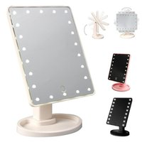Wholesale Compact Led Bulbs - led Mirror Light LED Make Up Mirror 360 Degree Rotation Touch Screen Cosmetic Mirror Folding Portable Compact With 16 22 LED Lights