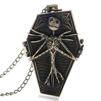 Wholesale Burton Wholesale - New Arrival Nightmare Before Christmas Quartz Pocket Watch Gothic Burton Retro Bronze Necklace Gift