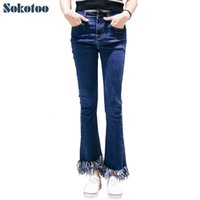 Wholesale Stretch Jeans Wholesale - Wholesale- Sokotoo Women's tassel ankle flare crop fringe jeans Fashion slim skinny stretch denim pants Black blue Ninth Capri