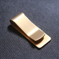 Wholesale Stainless Steel Name Holders - 100PCS Brass Wallet Metal Money Clip Stainless Steel Slim Paper Change Money Clips Name Card Credit Card Holder Clamp Pure Copper