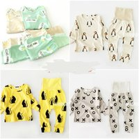 Wholesale Sets Panda Girls - Wholesale- 15COLORS BOBO CHOSES baby boy clothing sets girls clothes kids pajama sets vetement enfant garcon kikikids PENGUIN PANDA christ