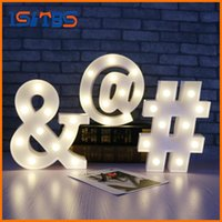 Wholesale Sign Alphabet Letters - White Letter Symbol LED Marquee Night Light Sign Alphabet Light Indoor Wall Decoration Light Up Kid Gift