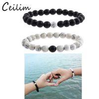 Wholesale White Tigers Eye Beads - New fashion jewelry 2 piece set distance bead bracelet with 8mm tiger-eye & white turquoise & black dull stone bead charm love bracelets
