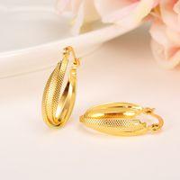 Boucles d oreilles à la mode femmes 24K jaune solide or GF bijoux arabe  Moyen-Orient Afrique indienne brésilienne bijoux Dubaï 265831e84314