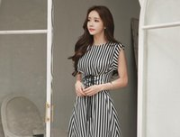 Wholesale Korean Chic Dress - In 2017, south Korean socialite chic new stripe print band with sleeveless waist dress