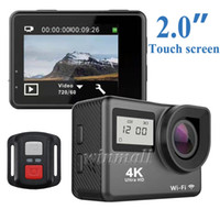 Wholesale waterproof action camera wifi resale online - Touch Screen K Action Camera Dual Screen H9T Remote Control Wifi Waterproof Degree Lens Sports Cam