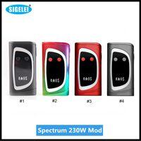 Wholesale Oled Display Color - Original Sigelei Kaos Spectrum Box Mod 230W 0.96TFT Big Oled Display Vape Mod 6 Changeable LED Color Bar 230Watt 2207041