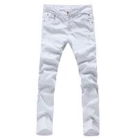Wholesale 36 Color Pencils - Wholesale- 2017 fashion solid color men denim trousers slim fit white straight pencil jeans pants 28-36 AYG48