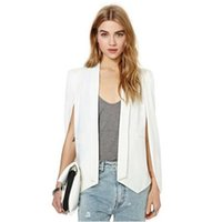 Wholesale Women S Cape Coats - XS-XXL 6 Size Fashion Cloak Cape Blazer Women Coat White Black Lapel Split Long Sleeve Pockets Solid Casual Suit Jacket CCA7001 10pcs
