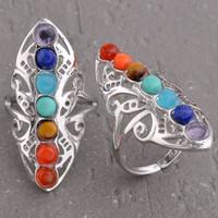 anillos de piedra amatista al por mayor-Anillos de boda 7 Chakra cuentas de piedras naturales anillo ajustable para mujeres encantos Amethyst Onyx etc accesorios joyería de moda europea