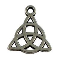 bout de boucle de cordon achat en gros de-120 breloques celtiques noeud tibétain argent Triangle A16269
