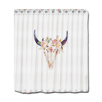 Wholesale Shower Curtains Polyester - Customs 36 48 60 66 72 80 (W) x 72 (H) Inch Shower Curtain Bull Head Skull Polyester Fabric Shower Curtain
