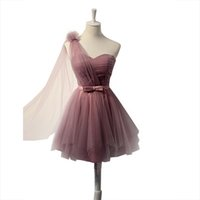 Wholesale Embroidery Wedding Dress One Shoulders - Purple Bridesmaid Dresses 2016 One Shoulder Flower Mini Tulle Cheap Dress Maid of Honor Wedding Prom Party Gowns Dress