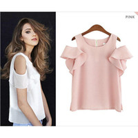 Wholesale Office Girl White Shirt - 2017 Summer Women Off Shoulder Ruffles Blouse Shirts O- Neck Collar Casual Sexy Tops Chemise Femme Work Office Girl Blusas