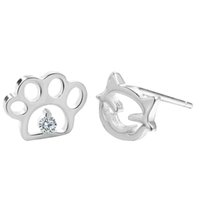 Wholesale Crystal Dog Earring Studs - 5 pairs lot 925 Sterling Silver Jewelry Women Small Cute Dog Cat Paw Asymmetric Stud Earrings Crystal Anti Allergy Charm Brincos
