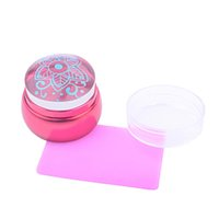Wholesale Nail Lovely Kit - Wholesale- New 3.5cm Lovely Jelly Nail Stamp Stamping Kit Silicone Red Metal Handle Nail Stamper Scraper with cap DIY Nail Printing Tools