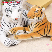 juguete tigre blanco al por mayor-Lindo tigre de peluche juguetes animales blanco amarillo encantador muñeca rellena animal almohada niños niños regalo de cumpleaños 35 cm