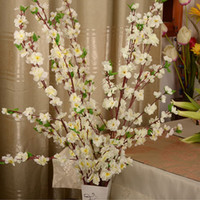 Artificial Cherry Spring Plum Peach Blossom Branch Silk Flower Tree para la decoración del banquete de boda blanco rojo amarillo rosa