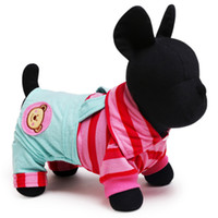 Wholesale Dog Cat Clothes Overalls - Freeshipping pet clothes cute puppy jumpsuits striped cat dog rompers dog overalls with legs in Spring and Autumn