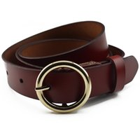Wholesale Round Metal Match - Fashion Round Buckle Cowhide Genuine Leather Belts Women All-match Casual Pin Buckle Belts For Ladies Jeans